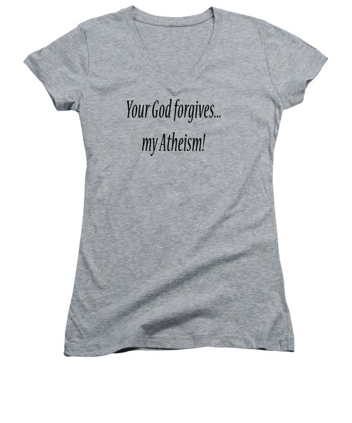 God Forgives Women's V-Neck (Athletic Fit)