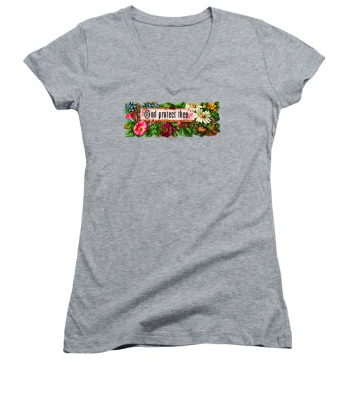 God Protect Thee Vintage Women's V-Neck T-Shirt (Junior Cut) by R Muirhead Art