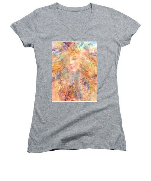 Women's V-Neck featuring the painting Goddess Of Summer by Carolyn Utigard Thomas