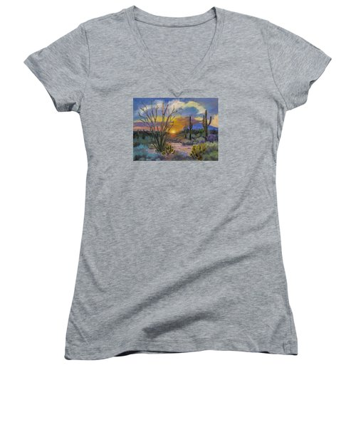 God's Day - Sonoran Desert Women's V-Neck T-Shirt (Junior Cut) by Diane McClary