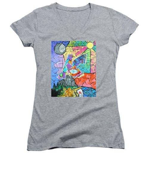 God's Eye, Like Eagle, Roams Earth, Night And Day Women's V-Neck T-Shirt (Junior Cut) by Jeremy Aiyadurai