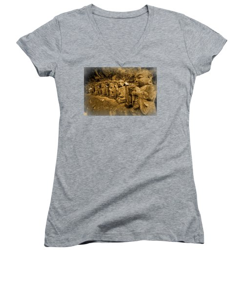 Women's V-Neck T-Shirt (Junior Cut) featuring the photograph Gods Of Japan by Daniel Hagerman
