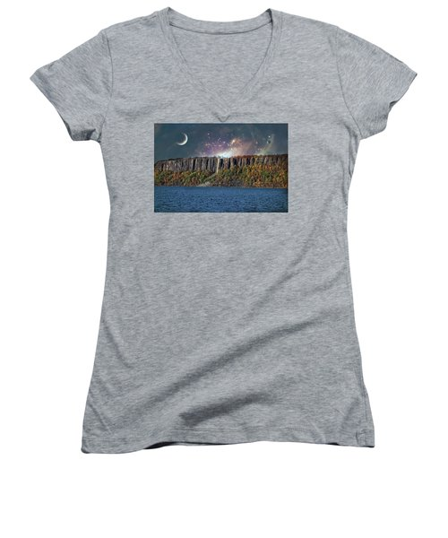 God's Space Over Planet Earth Women's V-Neck (Athletic Fit)