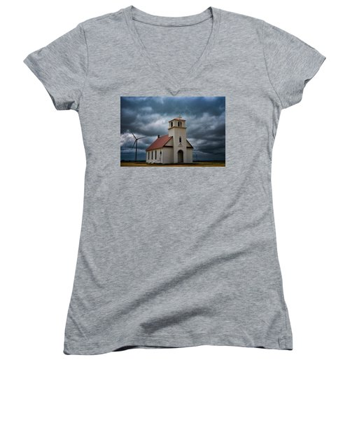 God's Storm Women's V-Neck T-Shirt (Junior Cut) by Darren White