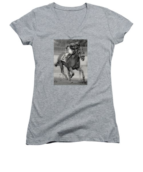 Going For The Win Women's V-Neck T-Shirt (Junior Cut) by Lori Seaman