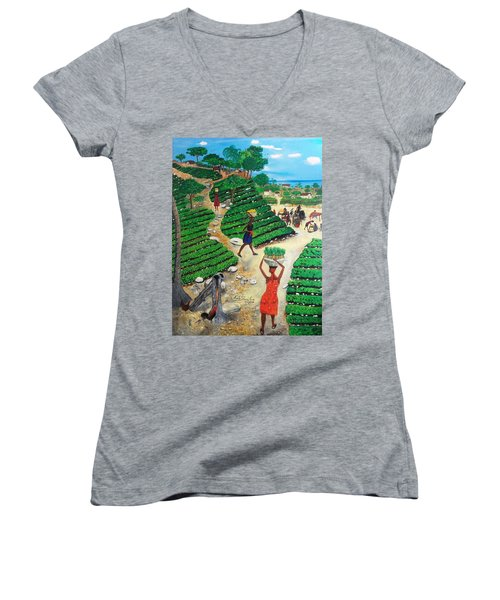 Going To The Marketplace #4 -  Walking Through The Terraces Women's V-Neck T-Shirt (Junior Cut) by Nicole Jean-Louis