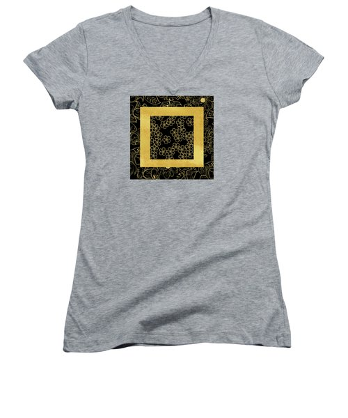 Gold And Black Women's V-Neck T-Shirt (Junior Cut) by Bonnie Bruno