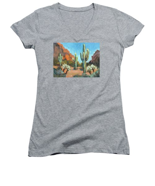 Women's V-Neck T-Shirt (Junior Cut) featuring the painting Gold Canyon by Diane McClary