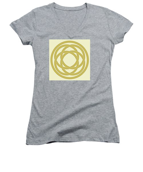Women's V-Neck T-Shirt (Junior Cut) featuring the photograph Gold Celtic Knot by Jane McIlroy