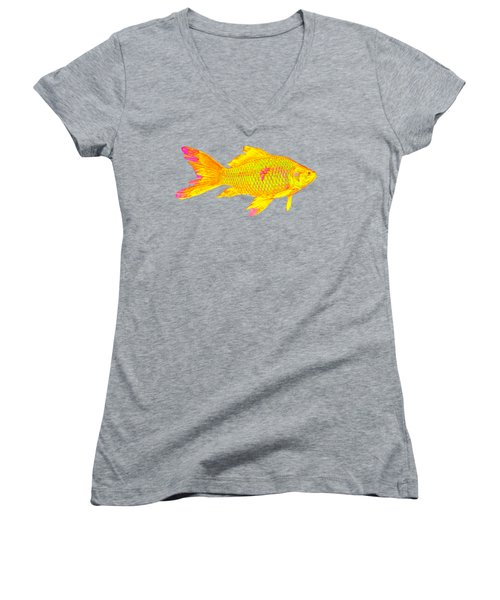 Gold Fish On Striped Background Women's V-Neck