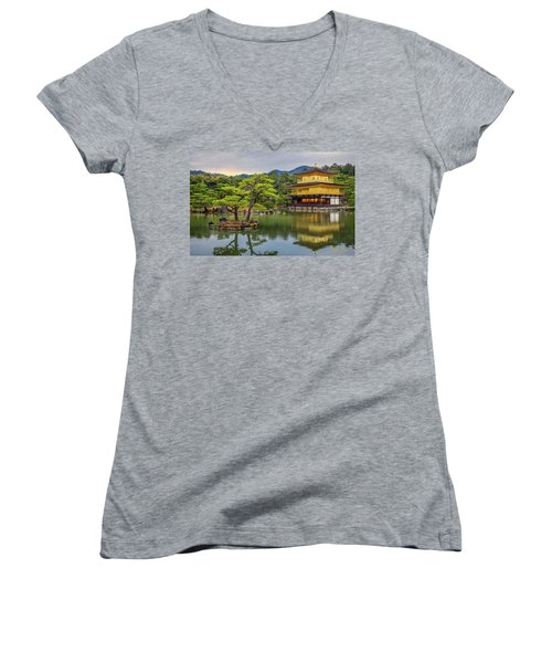Women's V-Neck T-Shirt featuring the photograph Gold Temple,  by Rikk Flohr