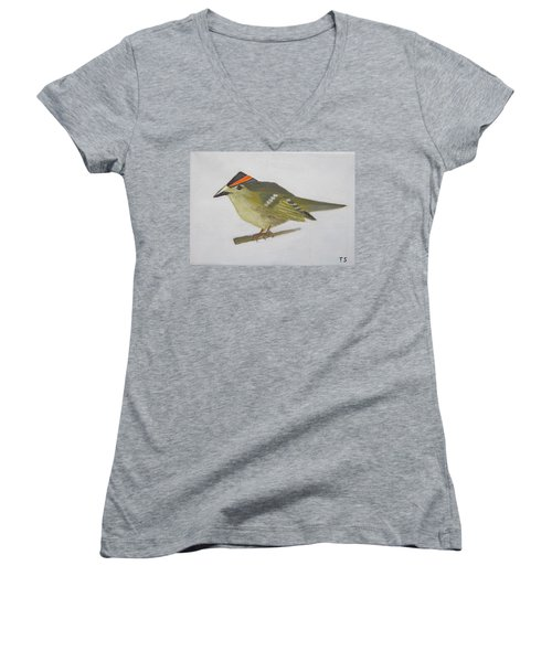 Goldcrest Women's V-Neck T-Shirt (Junior Cut) by Tamara Savchenko