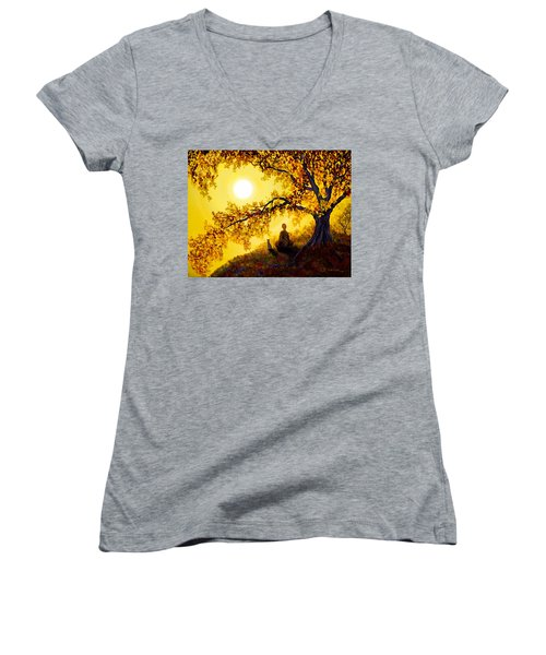 Golden Afternoon Meditation Women's V-Neck T-Shirt (Junior Cut) by Laura Iverson