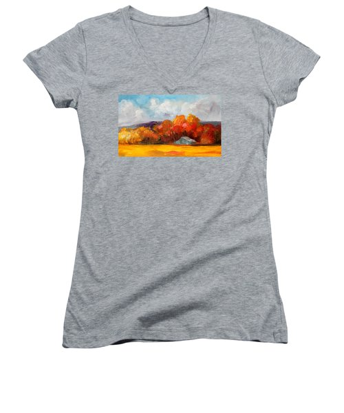 Golden Autumn Blue Country Horse Barn Women's V-Neck T-Shirt