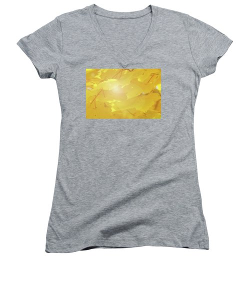 Golden Autumn Leaves Women's V-Neck