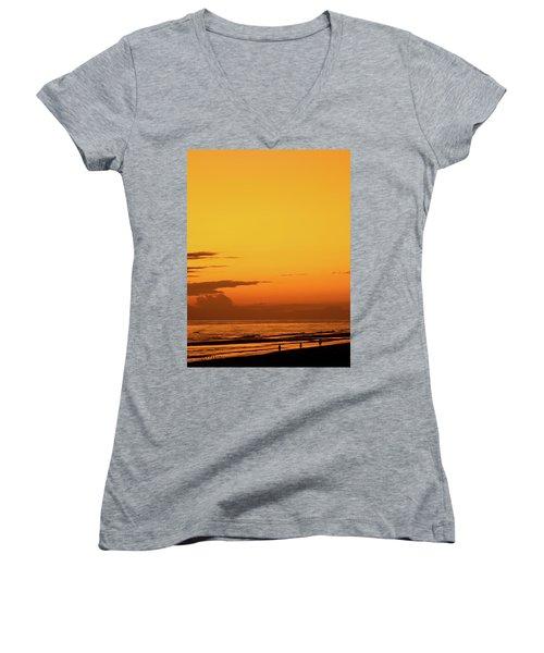 Golden Beach Sunset Women's V-Neck (Athletic Fit)