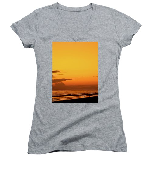 Golden Beach Sunset Women's V-Neck (Athletic Fit)