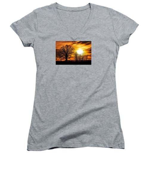 Golden Brushstrokes Women's V-Neck T-Shirt