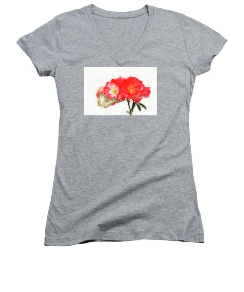 Golden Butterfly On Roses Women's V-Neck (Athletic Fit)