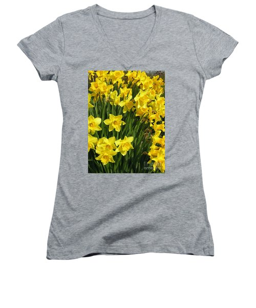 Women's V-Neck T-Shirt (Junior Cut) featuring the photograph Golden Daffodils by Phil Banks