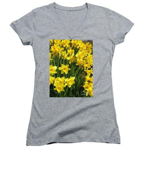 Golden Daffodils Women's V-Neck (Athletic Fit)