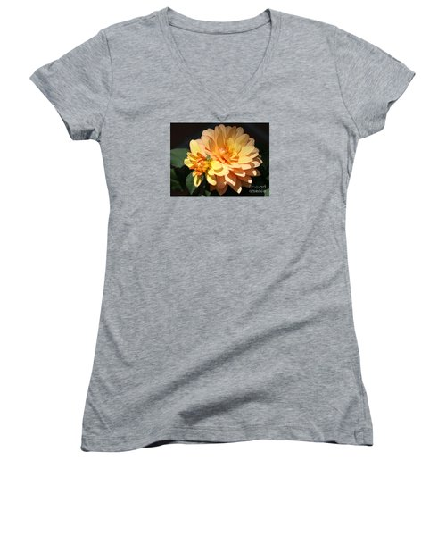 Golden Dahlia With Bud Women's V-Neck (Athletic Fit)