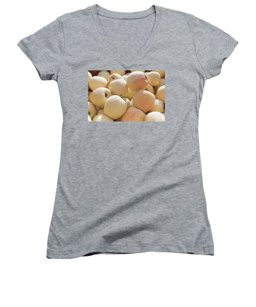 Women's V-Neck T-Shirt (Junior Cut) featuring the photograph Golden Delicious by Laurie Stewart