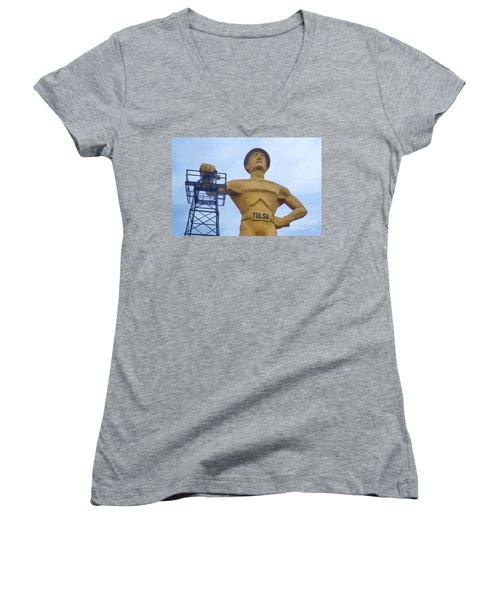 Golden Driller 76 Feet Tall Women's V-Neck T-Shirt (Junior Cut) by Janette Boyd