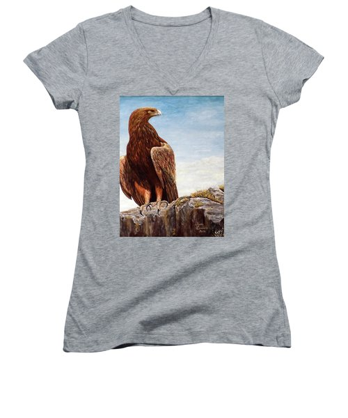 Women's V-Neck T-Shirt (Junior Cut) featuring the painting Golden Eagle by Judy Kirouac