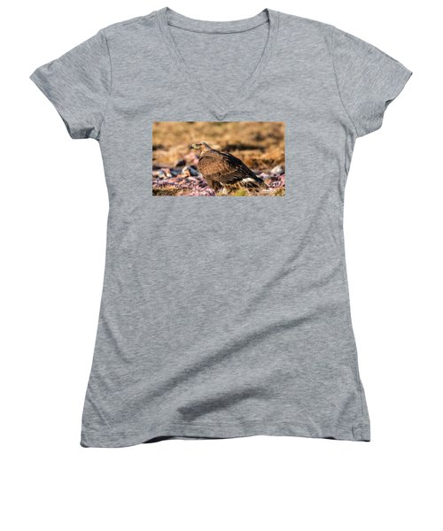 Women's V-Neck T-Shirt (Junior Cut) featuring the photograph Golden Eagle's Back by Torbjorn Swenelius