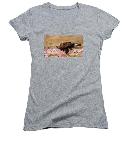 Women's V-Neck T-Shirt (Junior Cut) featuring the photograph Golden Eagle's Profile by Torbjorn Swenelius