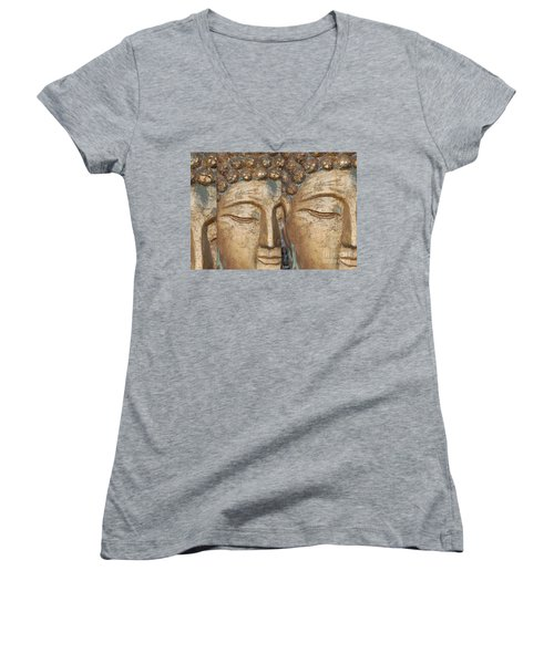 Golden Faces Of Buddha Women's V-Neck T-Shirt