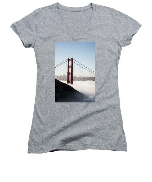 Women's V-Neck T-Shirt (Junior Cut) featuring the photograph Golden Gate And Marin Highlands by David Bearden