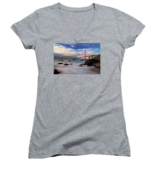Women's V-Neck T-Shirt (Junior Cut) featuring the photograph Golden Gate Bridge by Evgeny Vasenev
