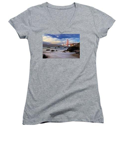 Women's V-Neck T-Shirt (Junior Cut) featuring the photograph Golden Gate Bridge by Evgeny Vasenev