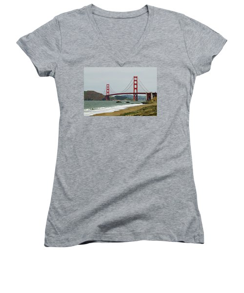 Golden Gate Bridge From Baker Beach Women's V-Neck