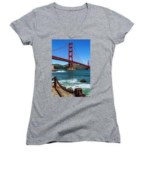 Golden Gate Bridge From Fort Point Women's V-Neck T-Shirt (Junior Cut) by Teri Virbickis