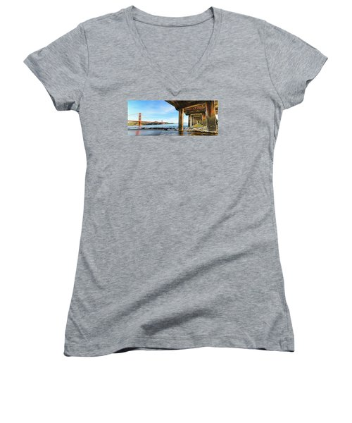 Women's V-Neck T-Shirt (Junior Cut) featuring the photograph Golden Gate Bridge From Under Fort Point Pier by Steve Siri