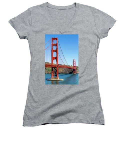 Golden Gate Bridge On Sunny Morning Women's V-Neck T-Shirt (Junior Cut) by Teri Virbickis