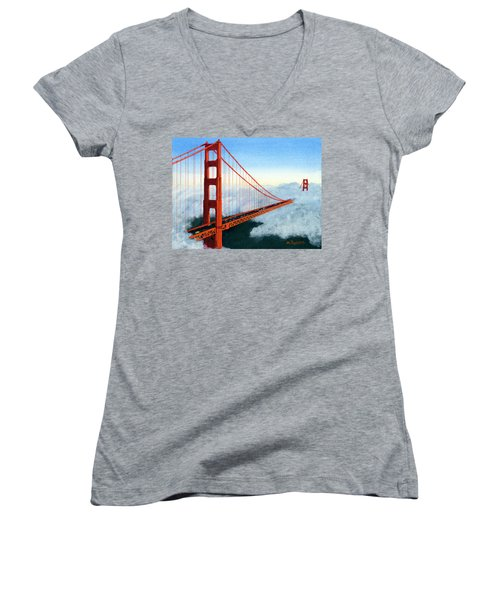 Golden Gate Bridge Sunset Women's V-Neck (Athletic Fit)
