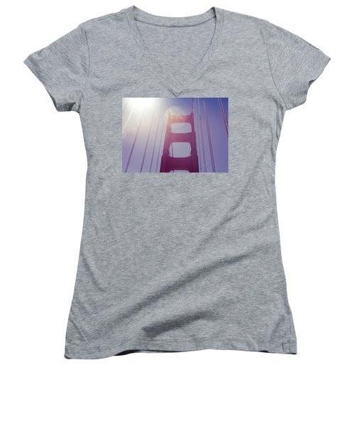 Golden Gate Bridge The Iconic Landmark Of San Francisco Women's V-Neck T-Shirt