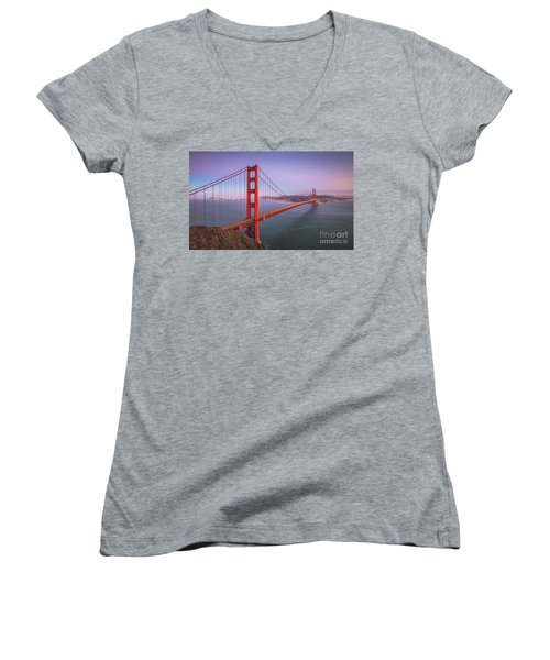 Golden Gate Bridge Twilight Women's V-Neck T-Shirt (Junior Cut) by JR Photography