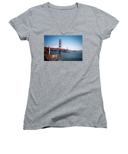 Golden Gate Bridge With Aircraft Carrier Women's V-Neck