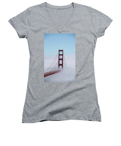 Women's V-Neck T-Shirt (Junior Cut) featuring the photograph Golden Gate Fogged - 3 by David Bearden