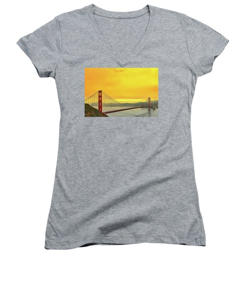 Women's V-Neck featuring the painting Golden Gate by Harry Warrick