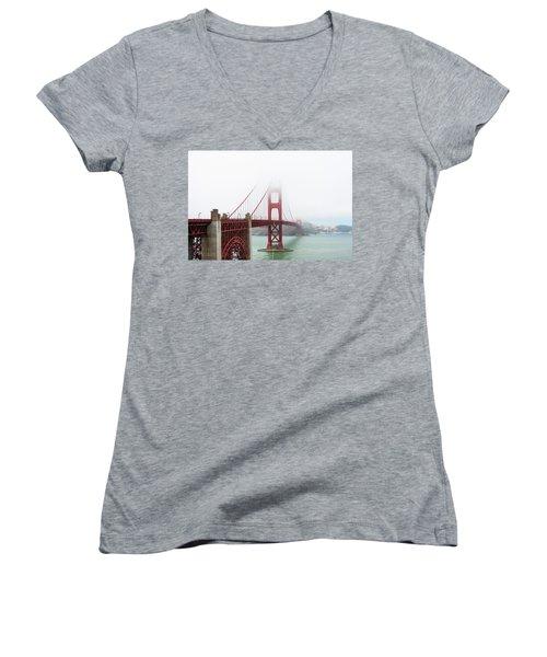 Golden Gate In The Fog Women's V-Neck