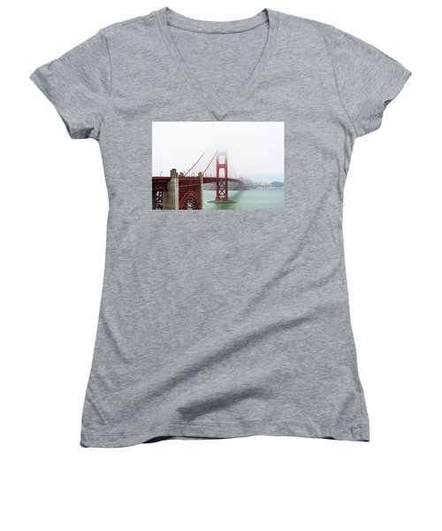 Golden Gate In The Fog Women's V-Neck T-Shirt