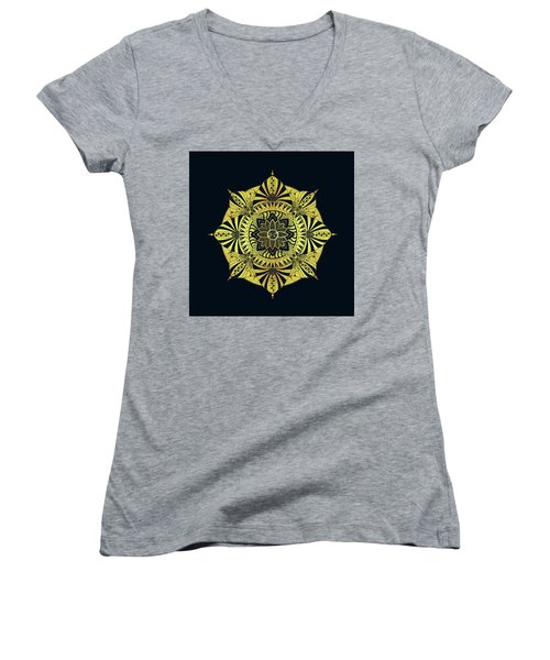 Women's V-Neck T-Shirt (Junior Cut) featuring the drawing Golden Geometry by Deborah Smith