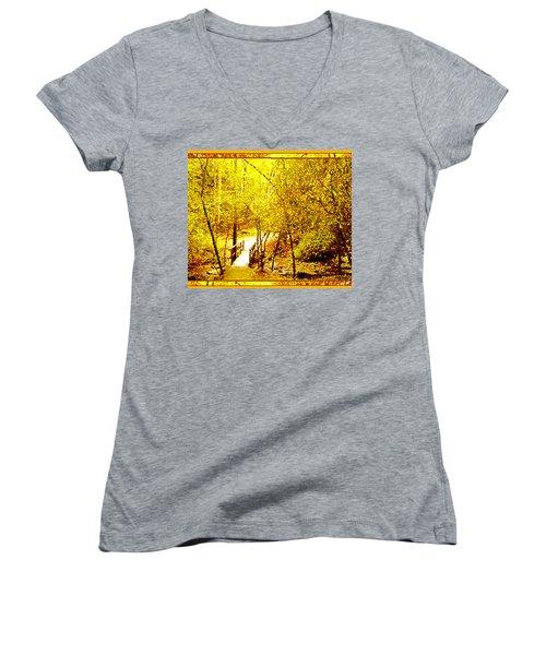 Golden Glow Women's V-Neck T-Shirt (Junior Cut) by Seth Weaver