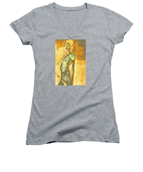 Women's V-Neck T-Shirt (Junior Cut) featuring the digital art Golden Graffiti by Andrea Barbieri